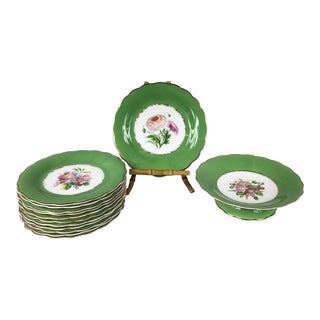 Green Floral Porcelain Plates With Dessert Stand - Set of 13 For Sale