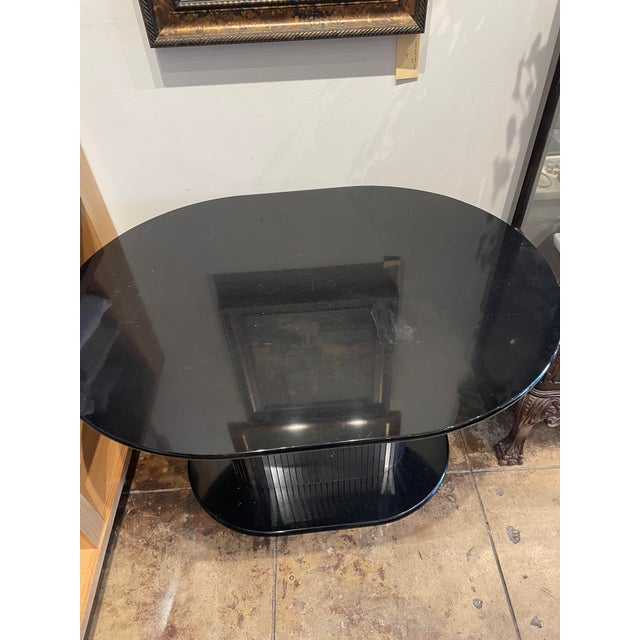 Vintage 1970s Oval Black Lacquered Table With Mirrored Panel Pedestal For Sale - Image 4 of 6