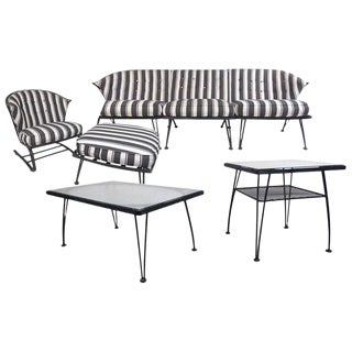 Russell Woodard Patio Set With Sofa, Tables, and Lounge Chair