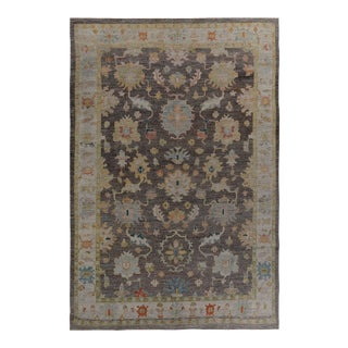 Turkish Oushak Rug with Blue & Gold Floral Details on Brown & Ivory Field For Sale