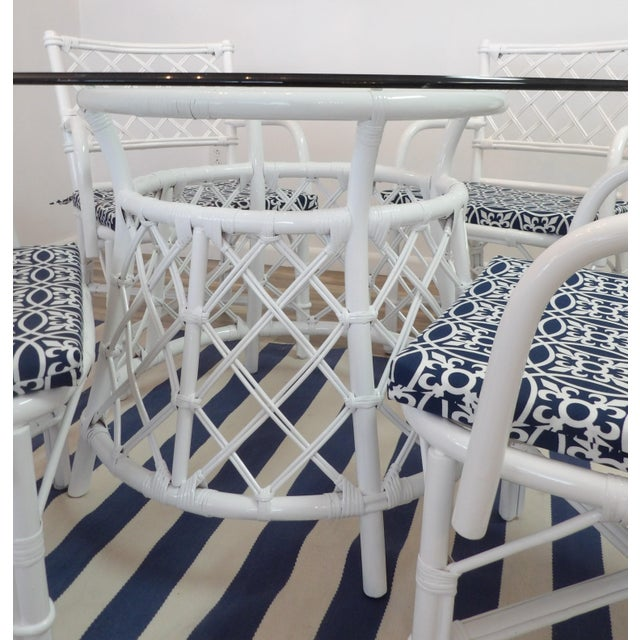 Contemporary Vintage Split Rattan Dining Set For Sale - Image 3 of 11