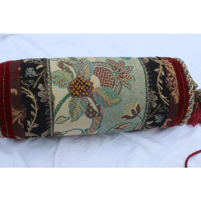 Contemporary Multicolored Floral Tapestry Bolster With Tassles and Cords For Sale - Image 10 of 13
