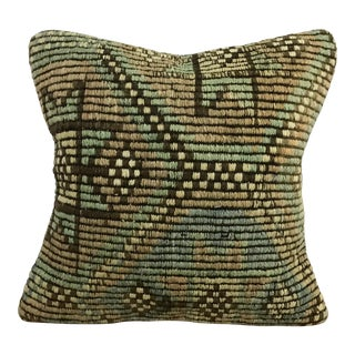 Vintage Tribal Turkish Handmade Green and Tan Pillow Cover For Sale