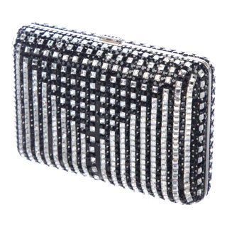 Judith Leiber Cocktail Minaudière Evening Bag Crystals Black Jet Silver Vintage For Sale