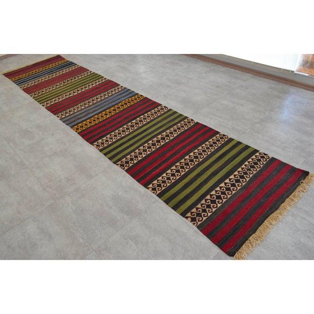 "Anatolian Wool Kilim Long Runner Rug - 2'7"" X 12'3"" - Image 2 of 9"