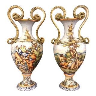 Pair of Italian Faience Porcelain Vases with Snake Handles For Sale