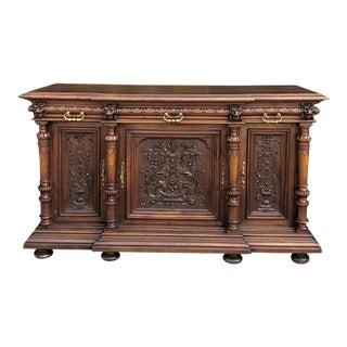 19th Century French Henri II Walnut Buffet For Sale