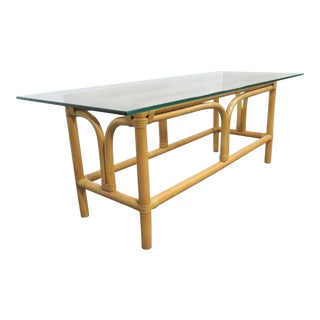 Mid Century Modern Rattan Glass Top Coffee Table For Sale