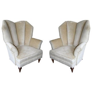 1950's Arturo Pani Beige Velvet Upholstered Lounge Chairs - a Pair For Sale