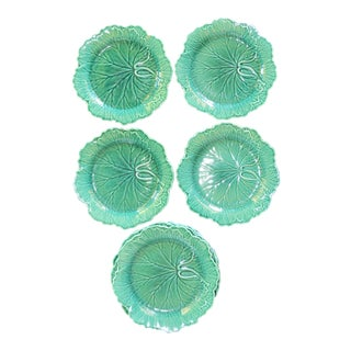 1950s English Traditional Wedgwood Majolica Plates - Set of 5 For Sale