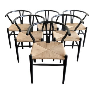 HD Buttercup Black Wishbone Chairs - Set of 6
