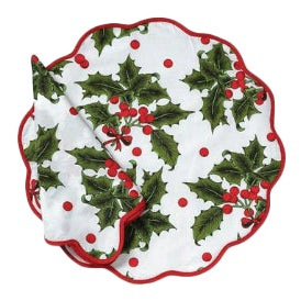 Holiday Print Napkins and Placemats - Set of 8 For Sale