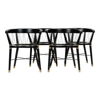 Single Ebonized Dining or Accent Chair With String Detail For Sale