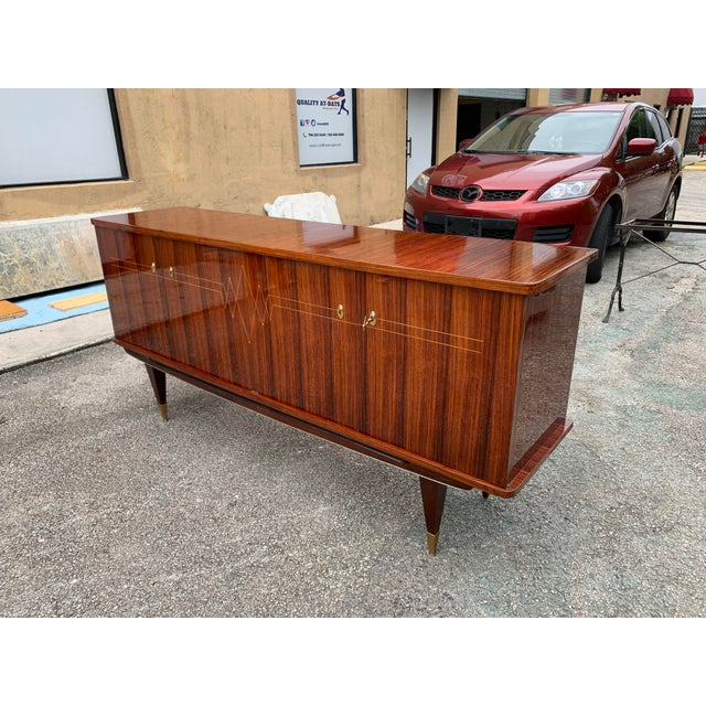1940s Vintage French Macassar Ebony Sideboard For Sale - Image 12 of 13