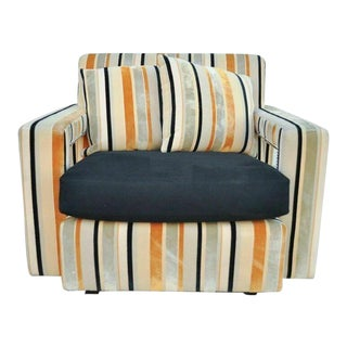Early 20th Century Hollywood Regency Modern Striped Upholstered Club Chair For Sale