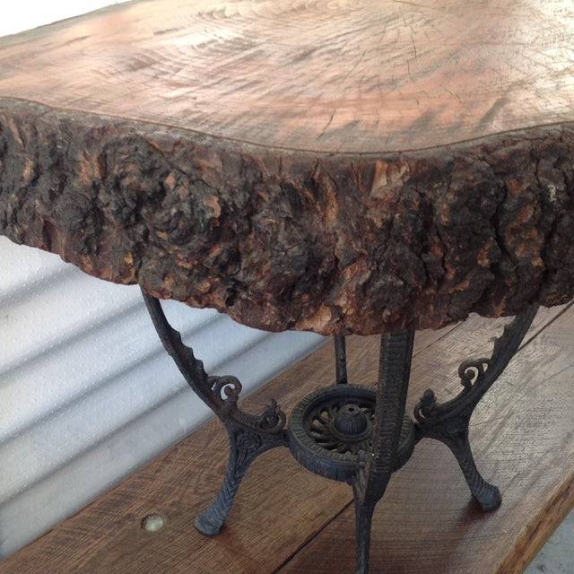 Redwood Burl Coffee Table on Cast Iron Stand For Sale - Image 5 of 8