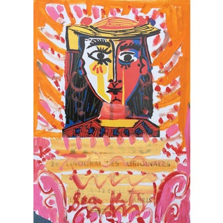 Framed Picasso Poster Oil Painting by Sean Kratzert 'Pink Lady' For Sale
