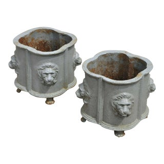 Vintage Mid Century Cast Iron French Empire Style Planters- A Pair For Sale