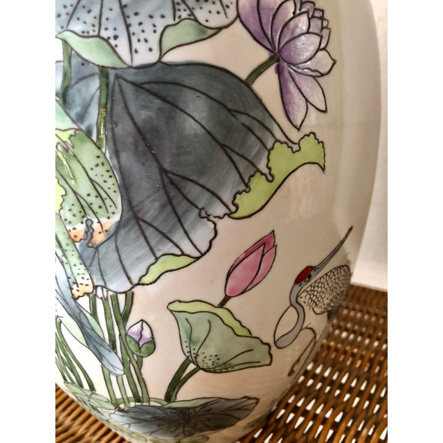 Chinoiserie Ginger Jar With Water Lillies & Cranes For Sale - Image 3 of 13
