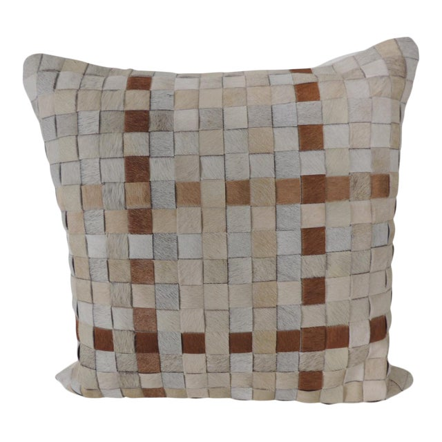 Tan and Brown Cowhide Basket Weave Decorative Pillow For Sale