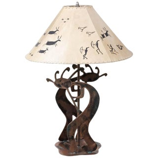Copper Table Lamp With Stylized Native American Motifs and Leather Shade For Sale