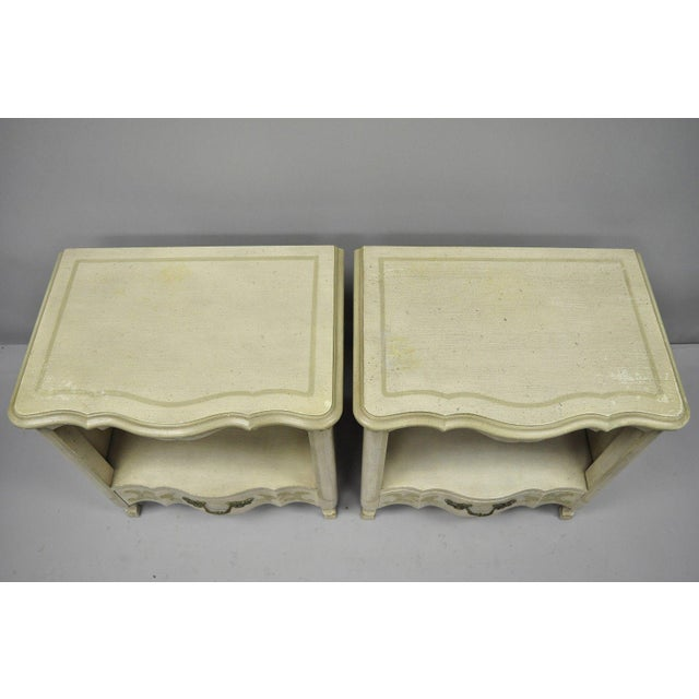 Country John Widdicomb Country French Provincial Cream Paint Nightstands - a Pair For Sale - Image 3 of 13
