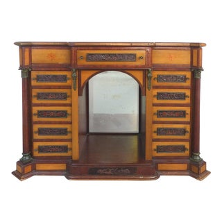 19th Century 13-Drawer Cabinet Top Chest, Bronze Mounts & Finely Carved Panels For Sale