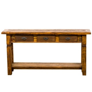 Rustic 3 Drawer Wood Console Table For Sale