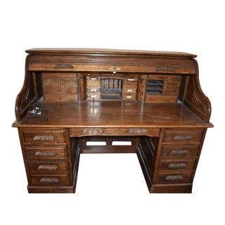 Traditional Oak Crest Manufacturing Rolltop Desk For Sale