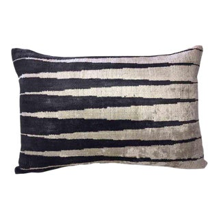 Silk Velvet Down Feather Ikat Accent Pillow