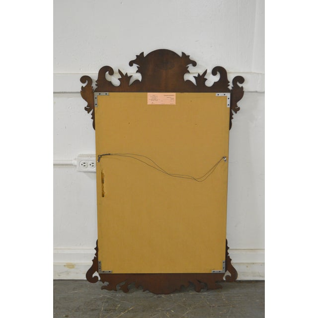 Henkel Harris Henkel Harris Flame Mahogany Shell Carved Chippendale Style Wall Mirror For Sale - Image 4 of 10