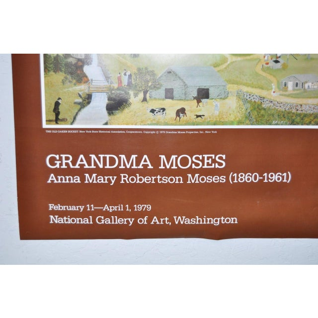 """Paper Vintage """"Grandma Moses"""" Exhibition Poster National Gallery of Art, Washington, DC 1979 For Sale - Image 7 of 8"""