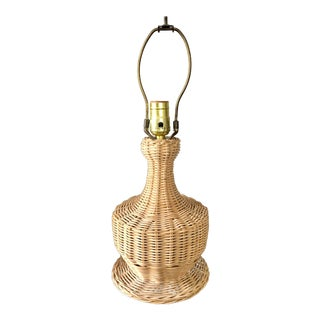Natural Wicker Table Lamp For Sale