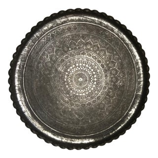 Moroccan Silvered Copper Charger, Large Scale For Sale