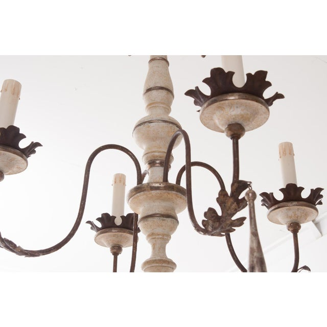 2010s Italian Reproduction Painted 12 Light Chandelier For Sale - Image 5 of 11