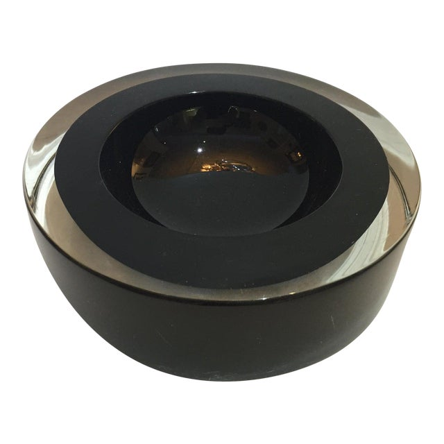 Mid-Century Modern Archimede Seguso Murano Bowl Black Glass For Sale