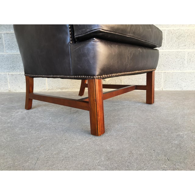 Gray Pottery Barn Thatcher Leather Wing Back Arm Chair For Sale - Image 8 of 12