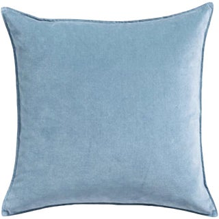 Contemporary Velvet Baby Blue Pillow Cover For Sale