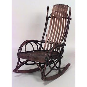 Americana American Country (19th/20th Cent) Amish style willow and slat wood design child's rocker (PRICED EACH) For Sale - Image 3 of 3