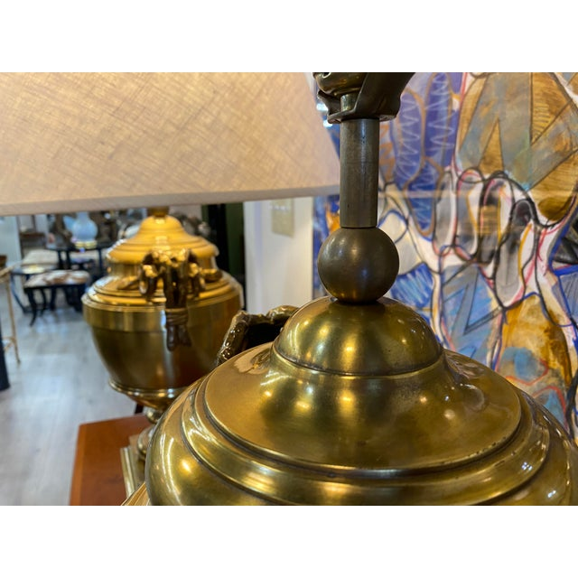 Pair of 1970s Chapman Manufacturing Vintage Brass Lamps For Sale - Image 11 of 13