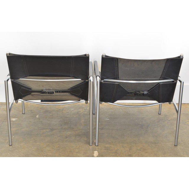 Spectrum Limited Pair of Martin Visser Lounge Chairs in Black Leather, 1965 For Sale - Image 4 of 5