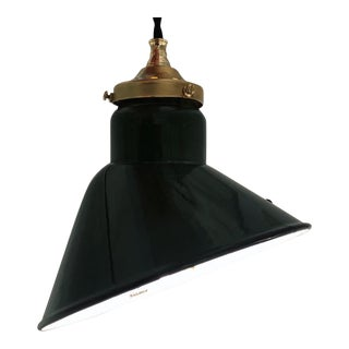 Vintage Green Enamel Angle Pendant Lamp For Sale
