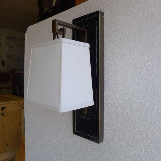 Paul Marra Black Leather Back Sconce with Tapered Linen Shade - Image 3 of 6