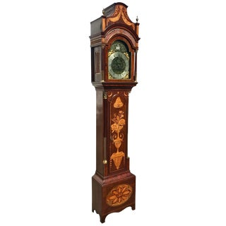 Fine Inlaid George III Longcase Clock With Automaton Movement, Circa 1780 For Sale