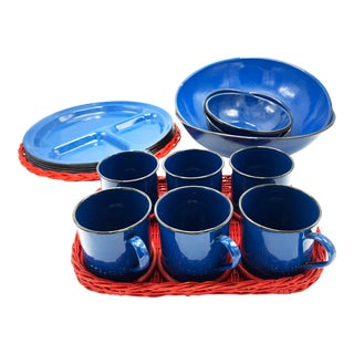 Mid-Century Modern Blue Enamelware Dinnerware Set - 22 Pieces For Sale