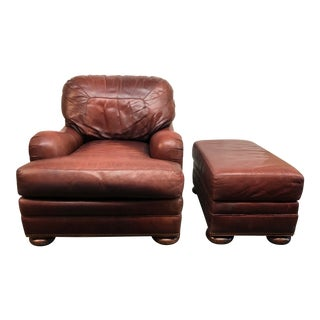 Whittmore Sherrill Leather Club Chair & Ottoman For Sale