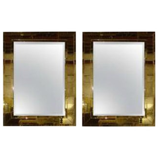 Art Deco Mid- Century Style Brick Framed Distressed Wall Mirrors - A Pair For Sale