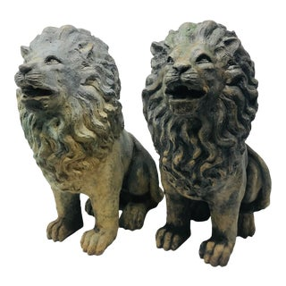 Cast Bronze Lion Statues- A Pair For Sale