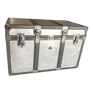 Industrial Korean War Era Airplane Surplus Trunk For Sale