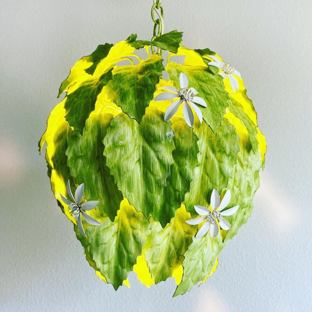 Leafy greens! Fabulous and rare 1960s Italian tole pendant light featuring four tiers of layered green leaves interspersed...